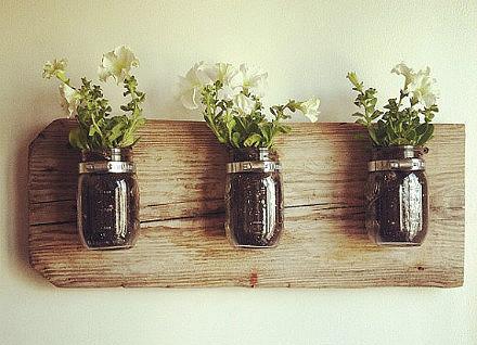 Vintage style mason jar vases