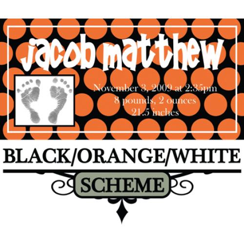 Black, orange, and white color scheme