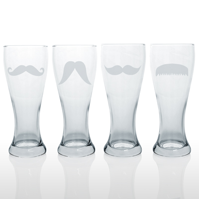 Laser etched mustache beer glasses.