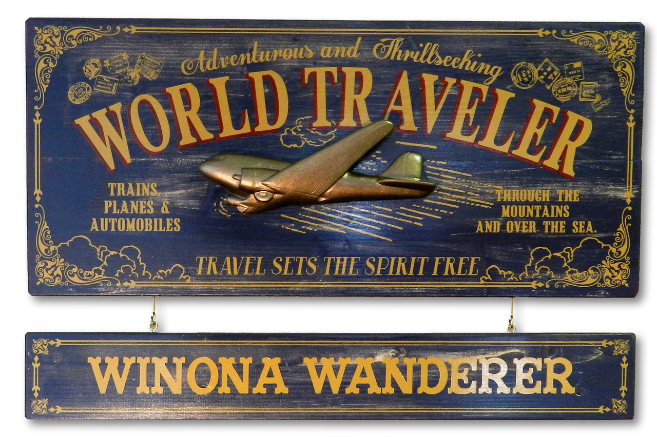 Personalized World Traveler Vintage Sign