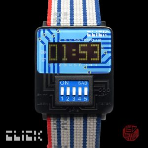 Click LCD retro dip switch wristwatch