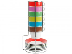 Colorful espresso mug set with holder