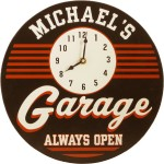 Garage wall clock with personalized name plate