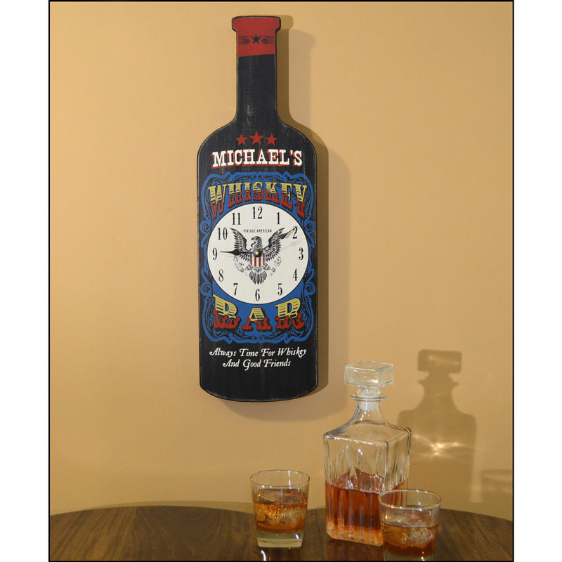 Bottle Shaped Plaques - Whiskey Clock