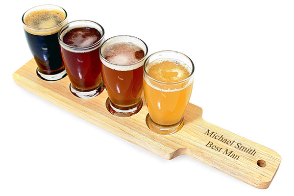 Paddle with flight sampler glasses