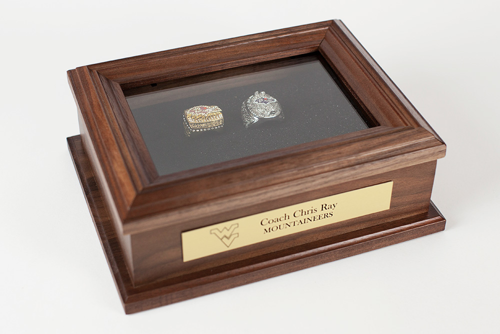 Sports ring keepsake box for championship rings for Wooden ring box