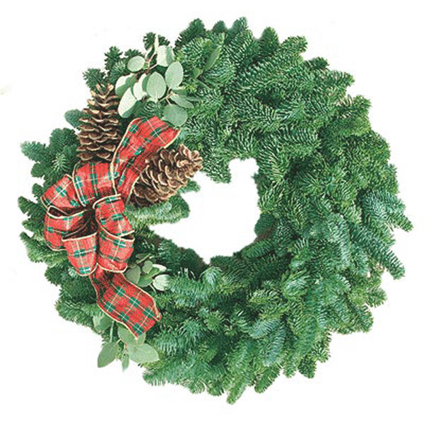 Organic Christmas Wreaths with Myrtle, Fir, and Pine Cones