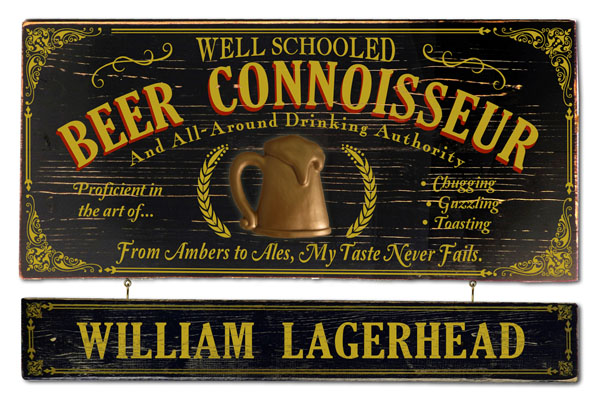 Vintage Beer Plaque for Home Bar