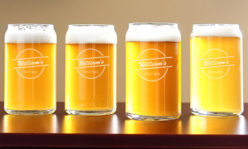 Beer Gift Ideas - Custom Engraved Beer Can Glasses