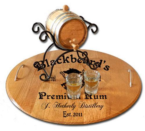 Pirate Home Bar Serving Tray Barrel Head