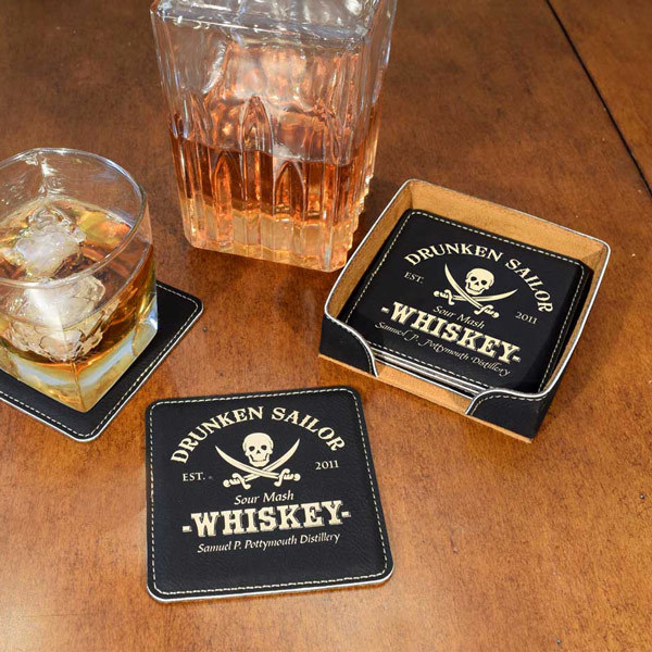 Personalized Pirate Coaster Set for Home Bar