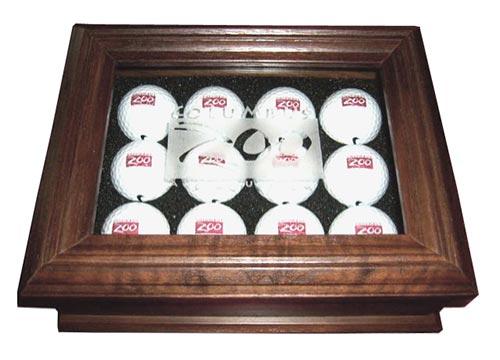 Walnut keepsake box for collectible golf balls