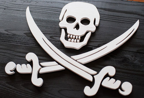 Wooden Pirate Flag Sign