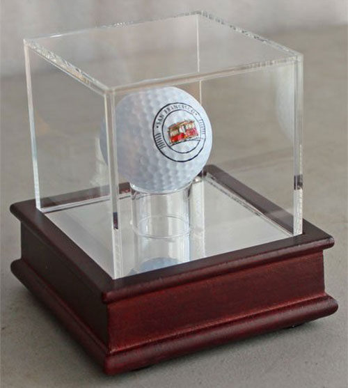 Golf ball display case for a single golf ball