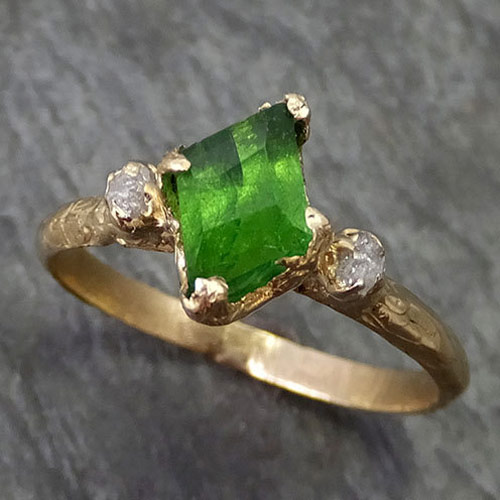 Green Tsavorite Diamond Handcrafted Engagement Ring