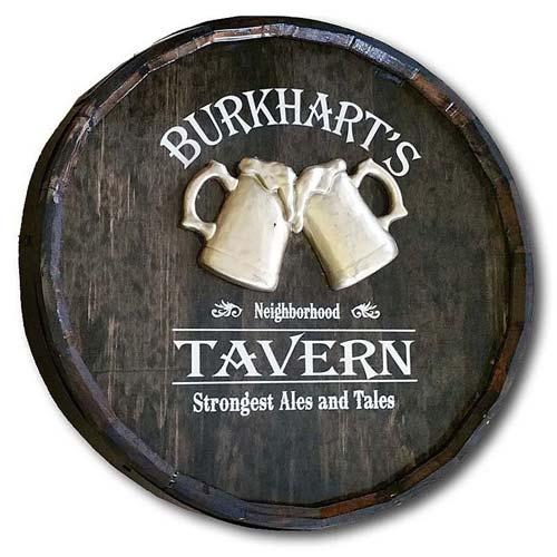 Personalized Oak Quarter Barrel Sign