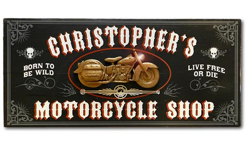 Personalized Wood Motorcycle Shop Sign