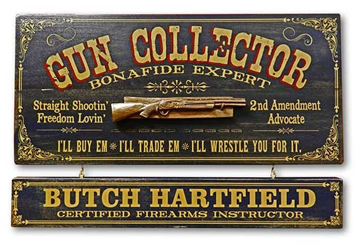 Personalized Vintage Wall Decor for Gun Collector