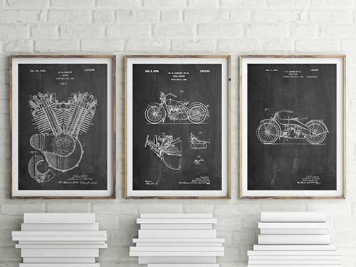Harley Patent Posters for Harley Davidson motorcycle