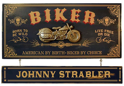 Wooden Motorcycle Plaque Personalized with Name