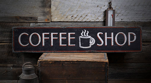 "Wood ""Coffee Shop"" sign in vintage style"