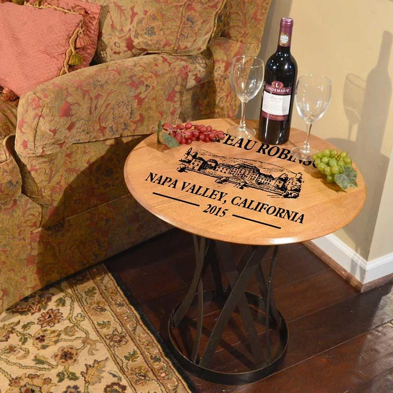 Chateau Winery Art Personalized Barrel Coffee Table