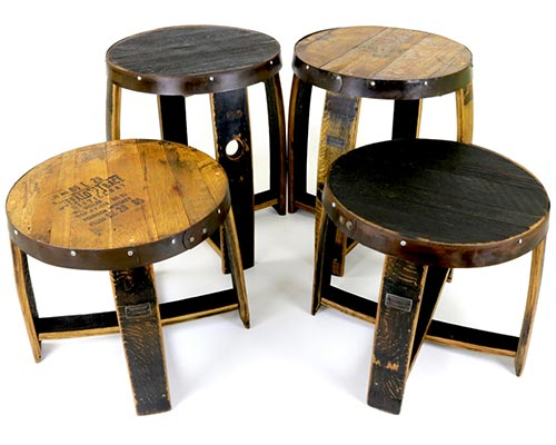 Barrel End Tables / Coffee Tables Repurposed from Old Whiskey Barrels
