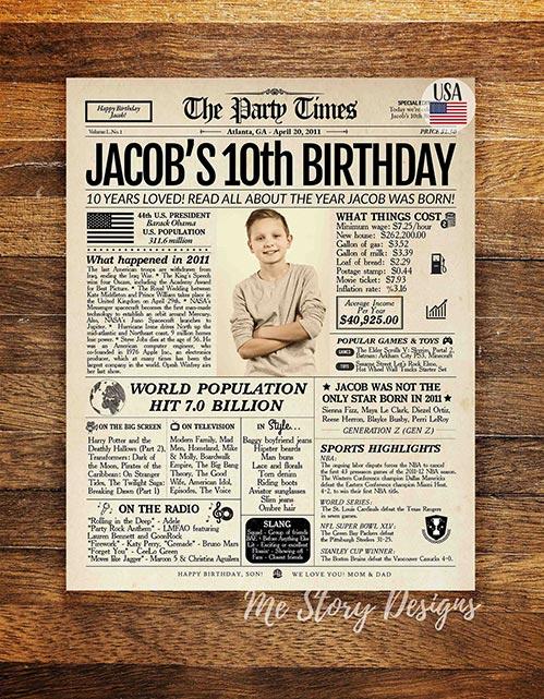 10th Birthday Newspaper