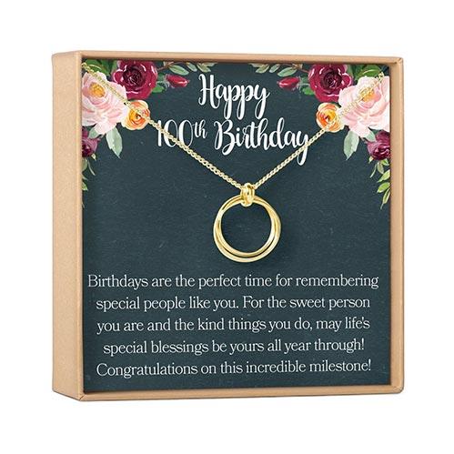 Happy 100th Birthday Necklace