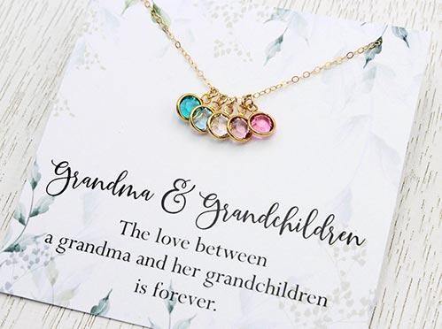 birthstone necklace for grandma's