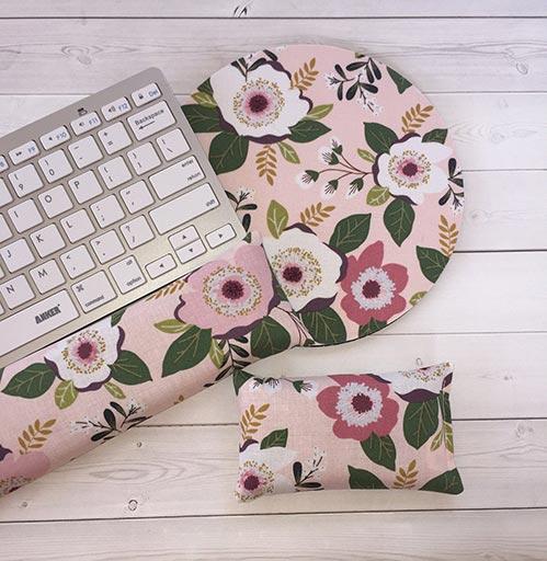 Floral Print Matching Computer Desk Pad Set