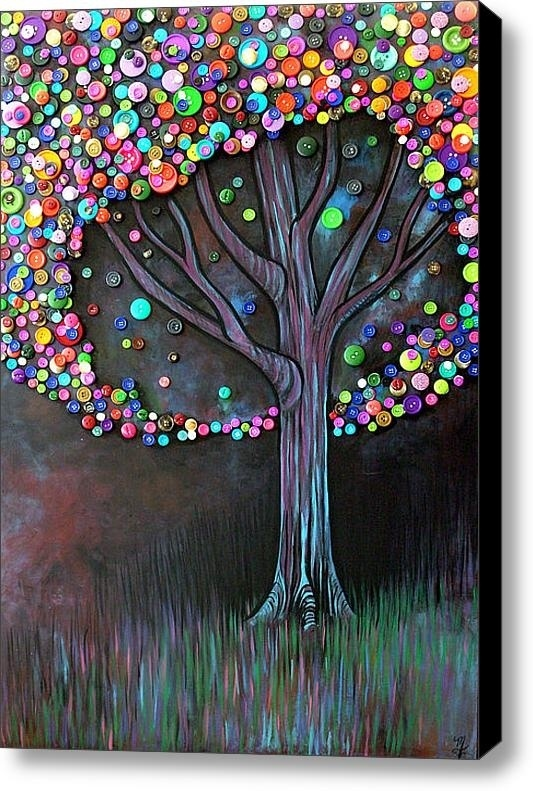 DIY Tree Made From Buttons On A Painted Canvas
