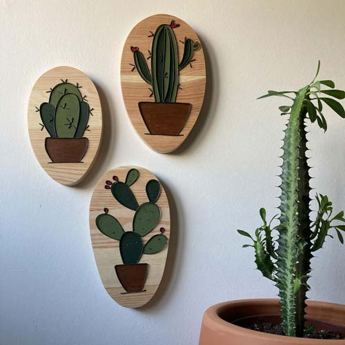 Wire Wall Art Set with Cactus Theme