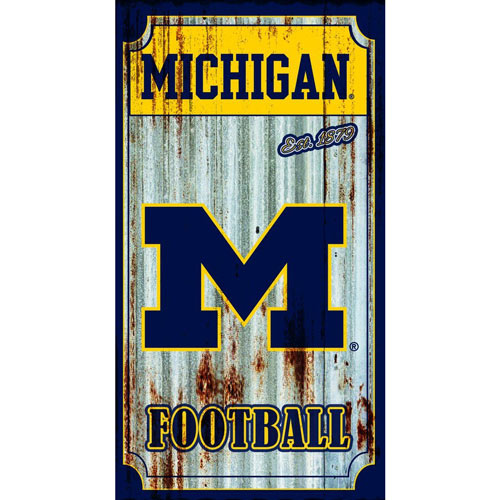 Corrugated metal man cave sports sign