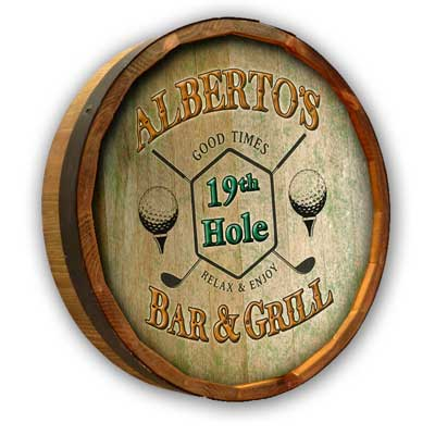 Quarter barrel head sign with golf pub personalized design