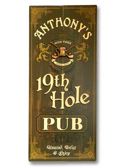 Vintage 19th Hole Golfer's Pub Sign