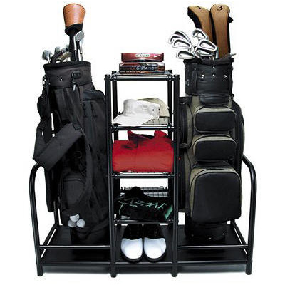 Closet organizer golf club rack system