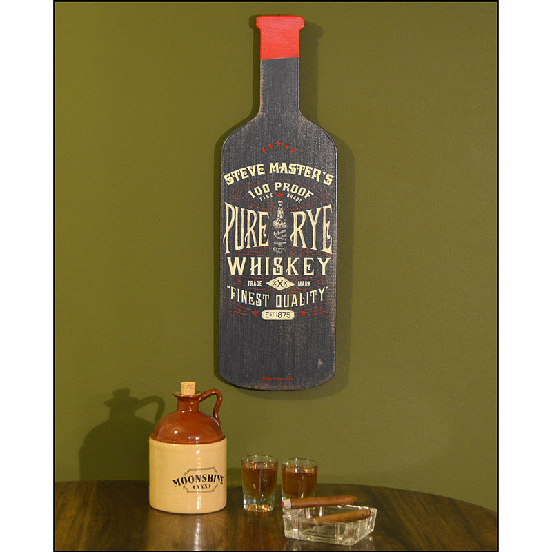Bottle Shaped Plaques - Pure Rye Whiskey
