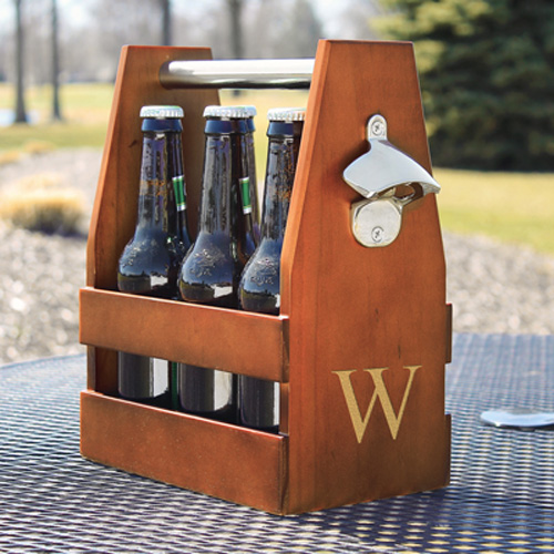 Wooden Beer Carrying Case with Bottle Opener