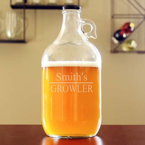 Laser engraved growler jug
