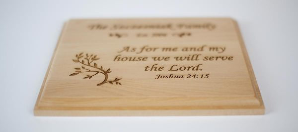 Joshua 24:15 Wood Family Name Plaque