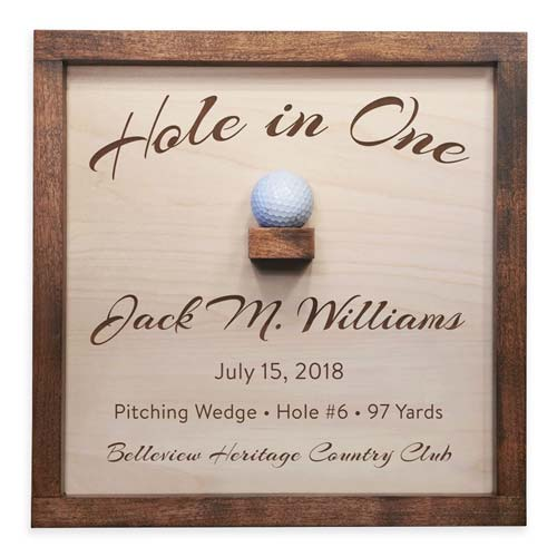 Wooden Sign with Golf Ball Holder for Hole in One Ball