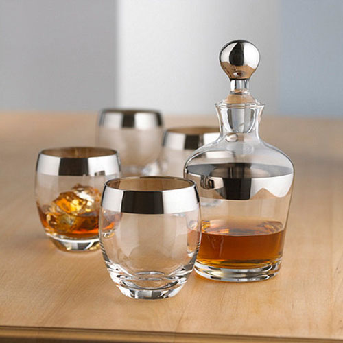 Silver Rim Whiskey Decanter Set