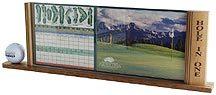 Display for single golf ball and scorecard