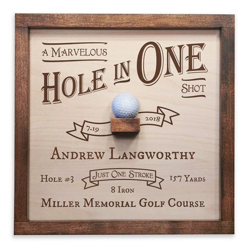 Handcrafted Wood Hole In One Plaque Made in the USA