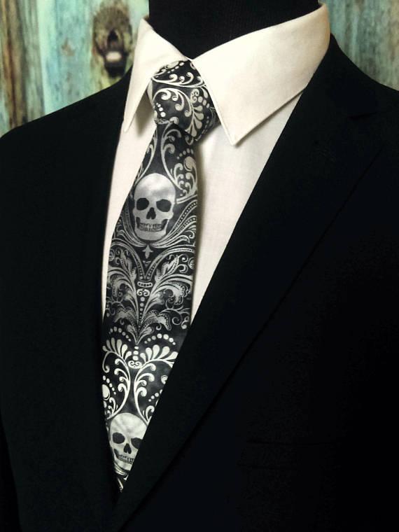 Skull Neck Tie Funeral Director Gift