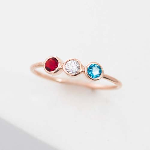 Handcrafted Triple Birthstone Ring