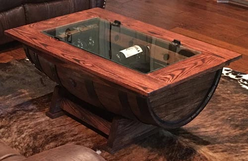 Charming Whiskey Barrel Coffee Table With Wine Bottle Storage