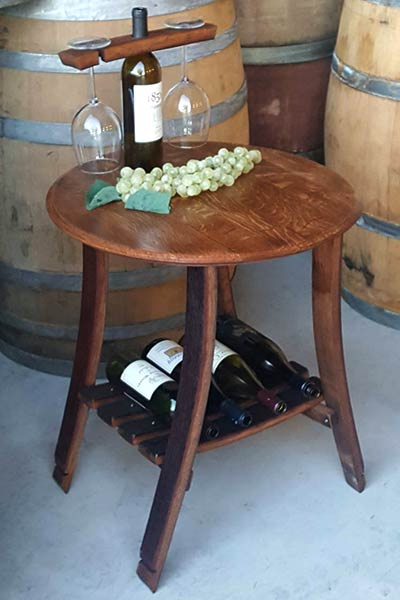 Wine Barrel End Table - Holds Wine