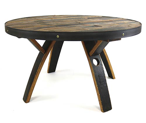 Spacious oak barrel coffee table